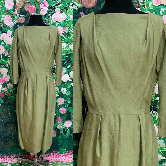 60s Kerrybrooke Olive Green Silk Dress Large