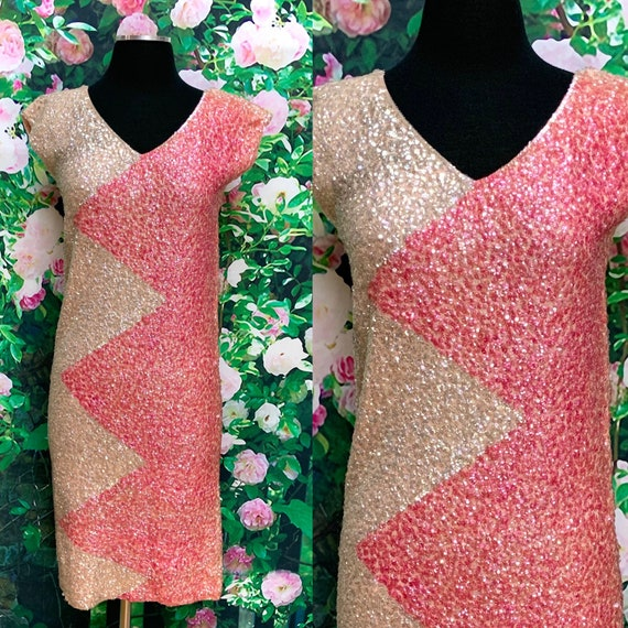 60s Gene Shelly Iridescent Cream Pink Sequin Dress