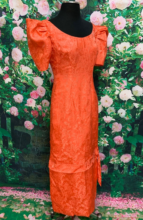 30s Pink Satin Brocade Gown Party Dress - image 6