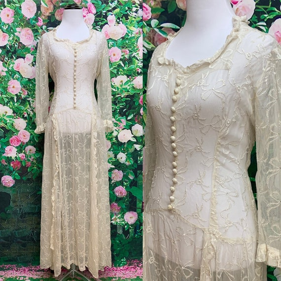 30s Ivory Embroidered Net Lace Dress Wedding Gown