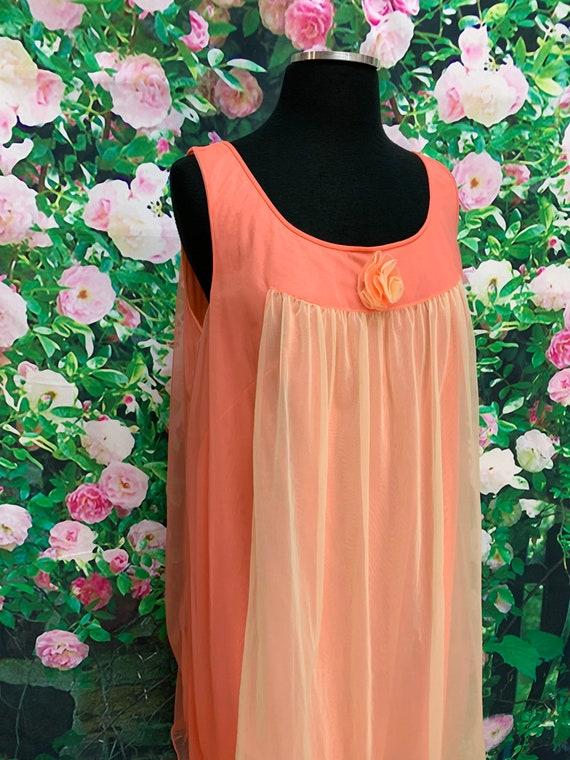 70s Vanity Fair Tangerine Chiffon Negligee Yellow… - image 5