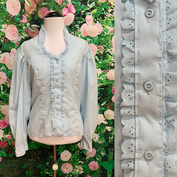 80s Miss Rodeo Blue Eyelet Lace Prairie Blouse