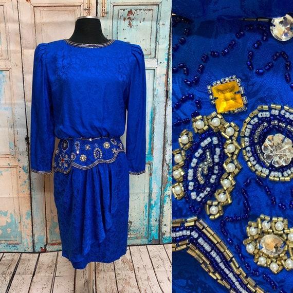 80s I Magnin Blue Silk Dress Beaded Sequins