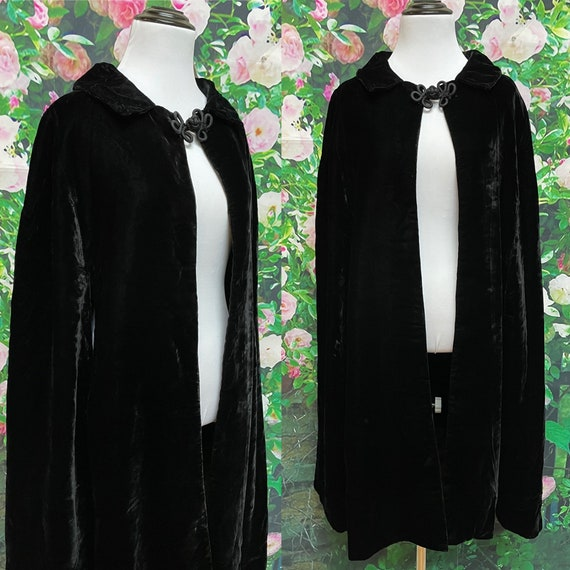 70s Black Velvet Cape Gothic Cloak Opera Cloak