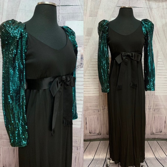 60s Mollie Parnis Black Gown Teal Sequin Sleeves
