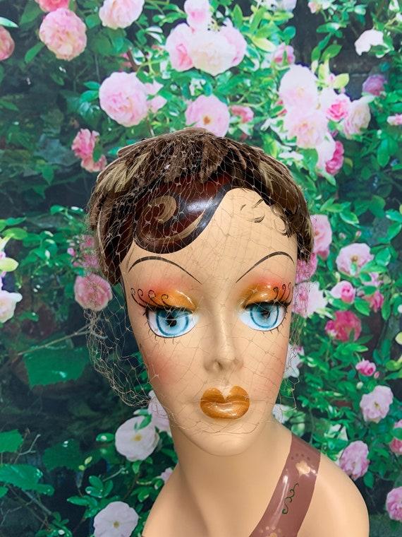 50s Brown Feather Headband Velvet Bow Leaves Fasc… - image 4