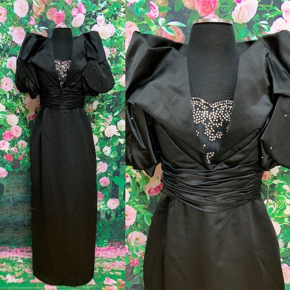 80s Rose Taft Black Satin Gown Rhinestones Puffed