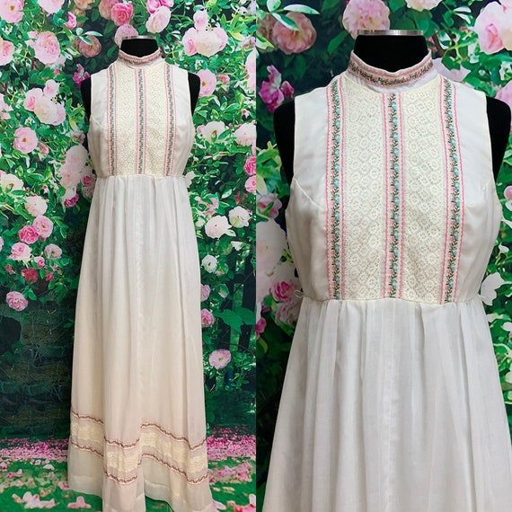 70s Candi Jones White Boho Maxi Dress High Neck La