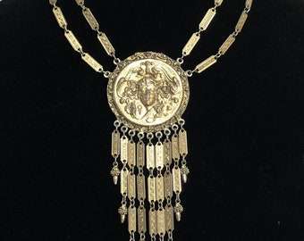 Art Nouveau Gothic Medallion Necklace Gold Dangle