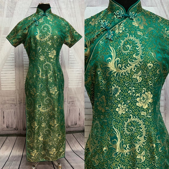 80s Green Silk Brocade Cheongsam Dress Gold Floral