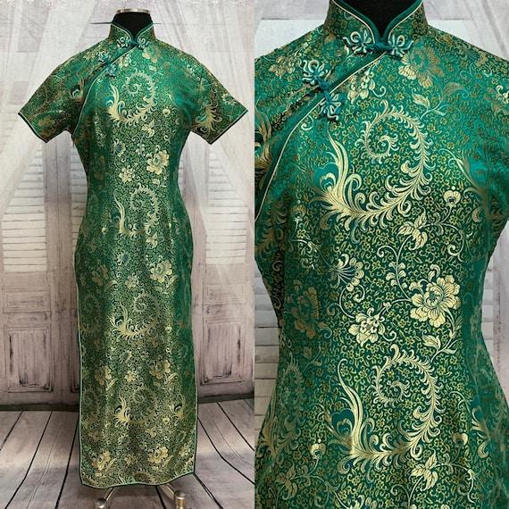 80s Green Silk Brocade Cheongsam Dress Gold Flora… - image 1