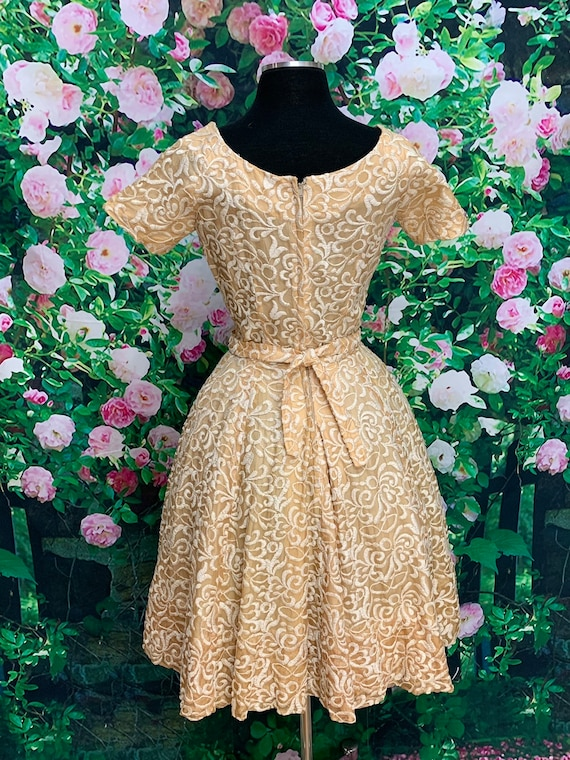 50s Suzy Perette Gold Party Dress Embroidered Flo… - image 8