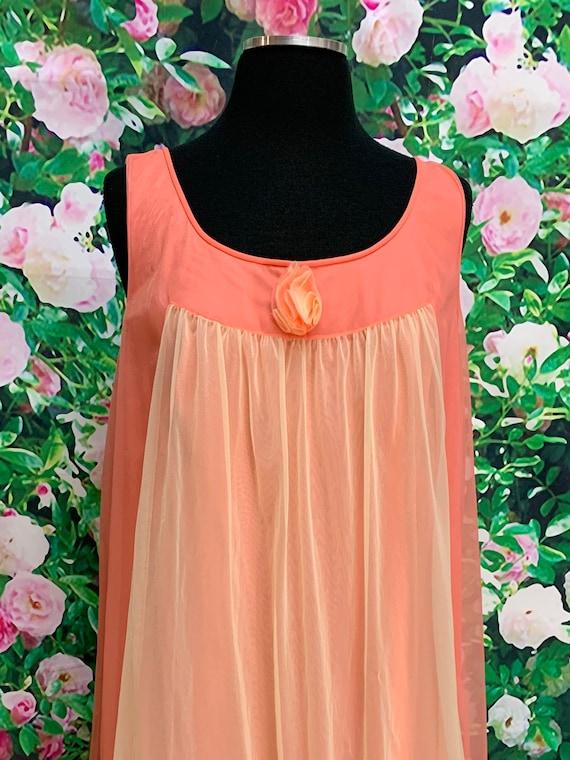 70s Vanity Fair Tangerine Chiffon Negligee Yellow… - image 3