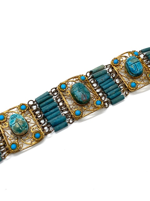 20s Egyptian Revival Scarab Panel Bracelet Blue Fa