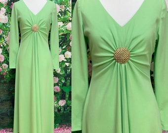 70s Green Poly Knit Maxi Dress Rhinestone Brooch