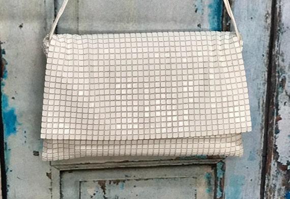 70s Lumured White Plastic Tile Purse Envelope Shou