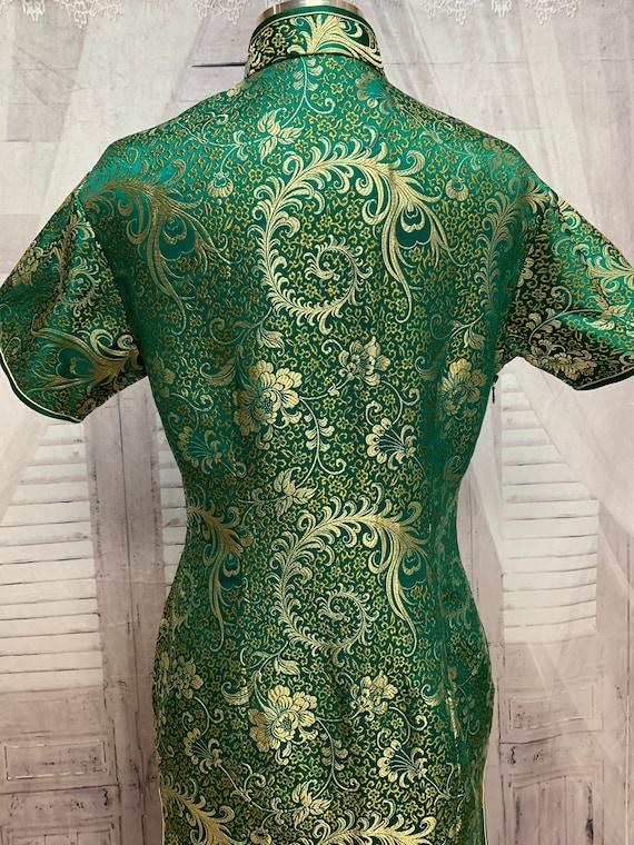80s Green Silk Brocade Cheongsam Dress Gold Flora… - image 9