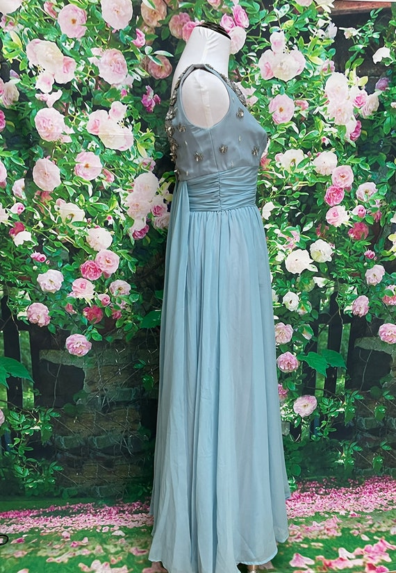 50s Blue Chiffon Party Dress Sequin Embellished N… - image 8