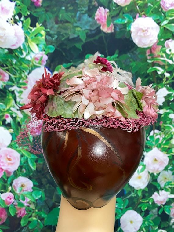 50s Pink Flower Hat Raspberry Netting - image 3