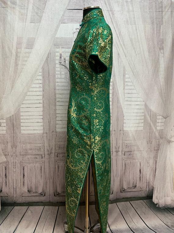 80s Green Silk Brocade Cheongsam Dress Gold Flora… - image 8