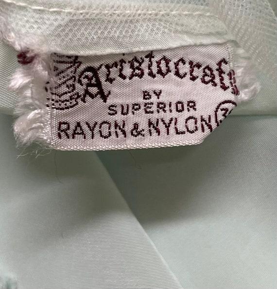 40s Aristocraft Rayon Mint Green Slip Organza Dai… - image 9