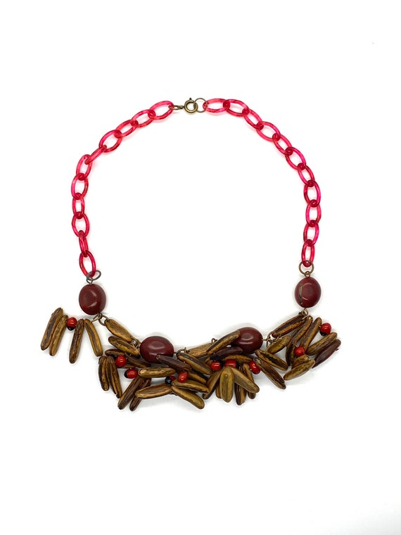 40s Red Celluloid Wood Bead Necklace Red Berry See