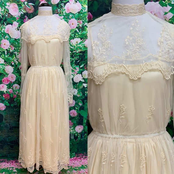 70s Victorian Ivory Sheer Lace Dress Embroidered N