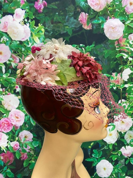 50s Pink Flower Hat Raspberry Netting - image 6