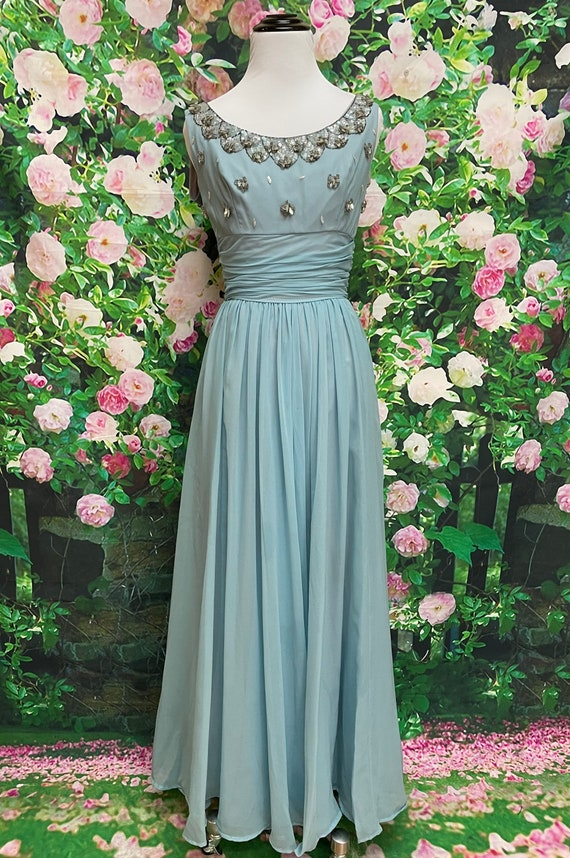 50s Blue Chiffon Party Dress Sequin Embellished N… - image 2