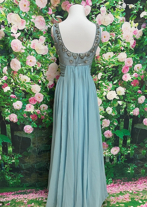 50s Blue Chiffon Party Dress Sequin Embellished N… - image 10