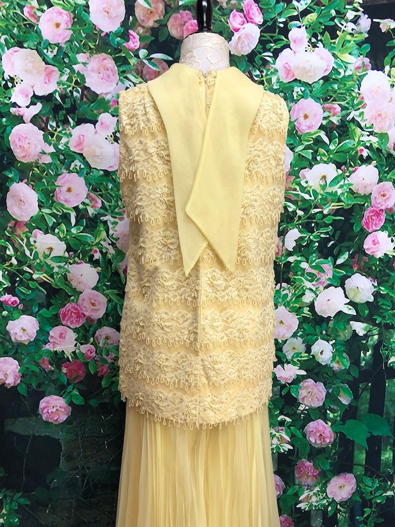 60s Jack Bryan Yellow Chiffon Palazzo Pants Beaded Sequin Tunic