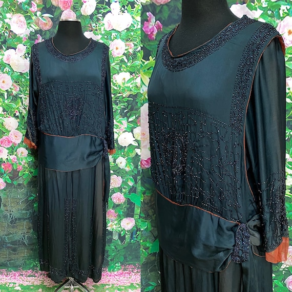 20s Blue Silk Beaded Flapper Dress Peacock - image 1