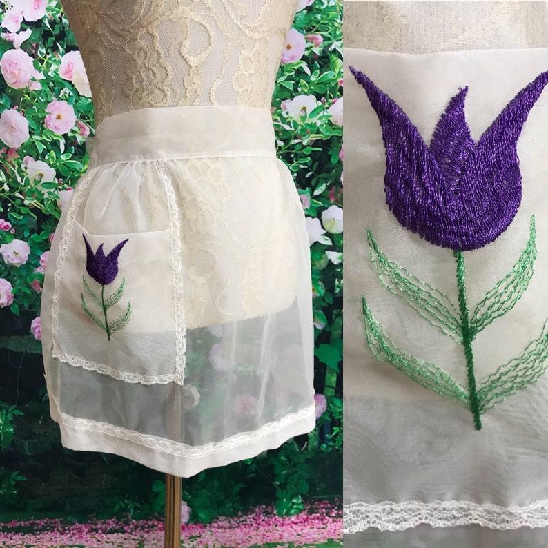 60s Sheer White Chiffon Half Apron Tulip Flower Pocket Hostess