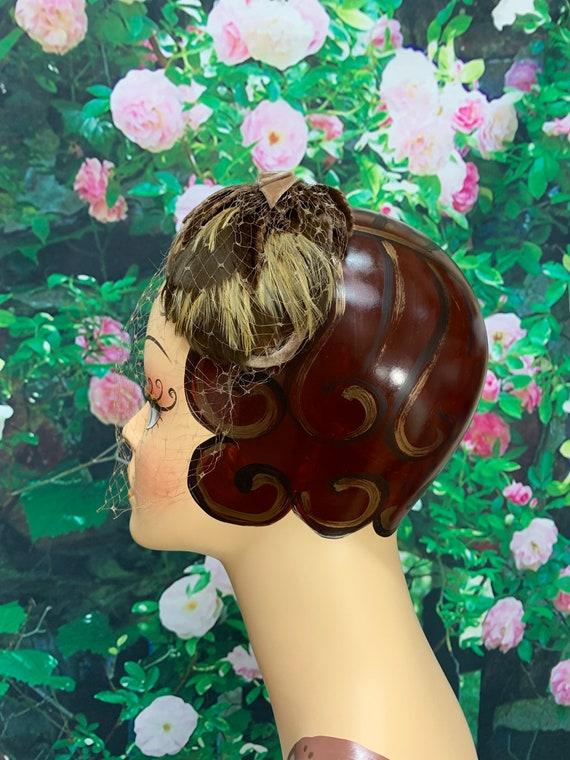 50s Brown Feather Headband Velvet Bow Leaves Fasc… - image 5