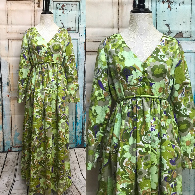 a26e27a8881 70s Green Floral Maxi Dress Satin Flower | Etsy