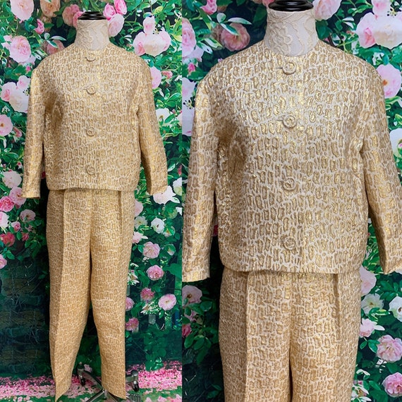 60s Giovelli Gold Lame Leopard Pant Suit Large Ani