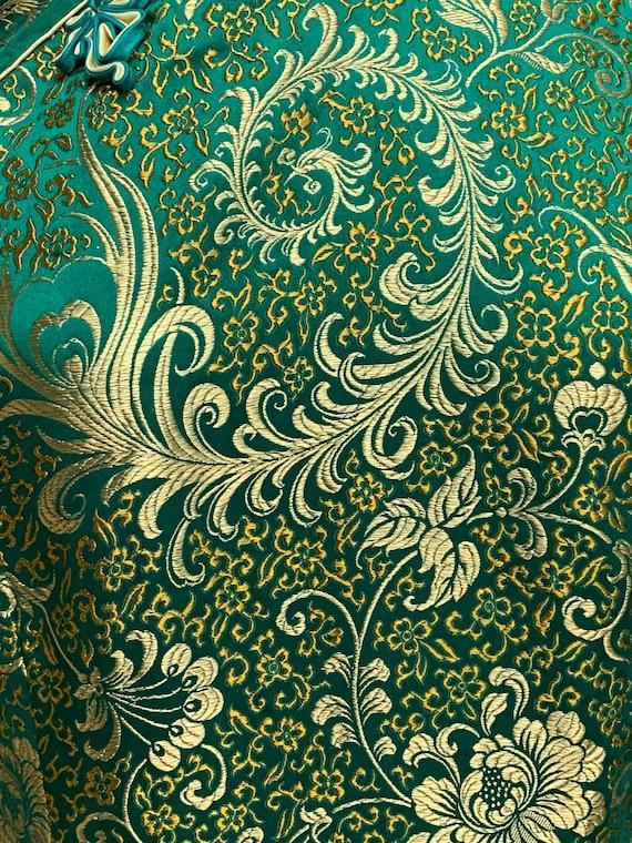 80s Green Silk Brocade Cheongsam Dress Gold Flora… - image 6
