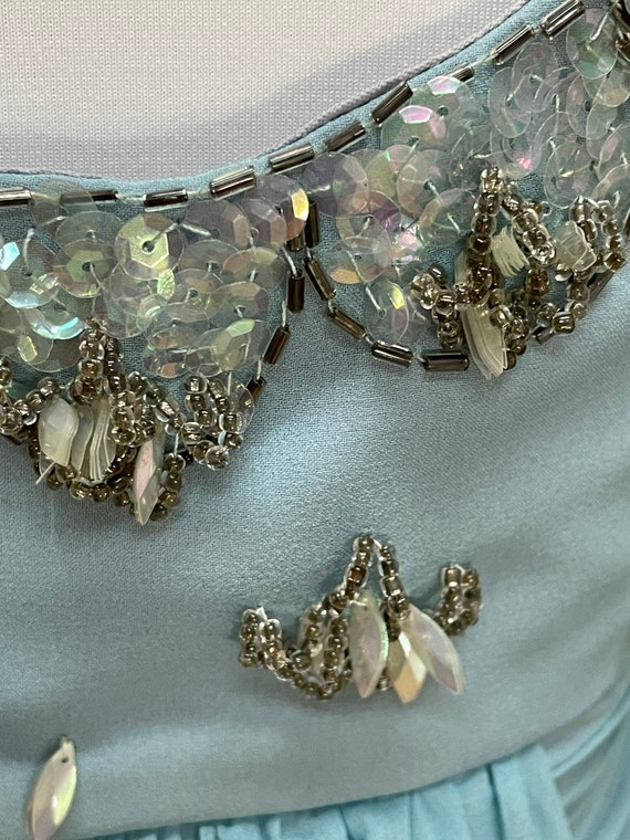 50s Blue Chiffon Party Dress Sequin Embellished N… - image 6