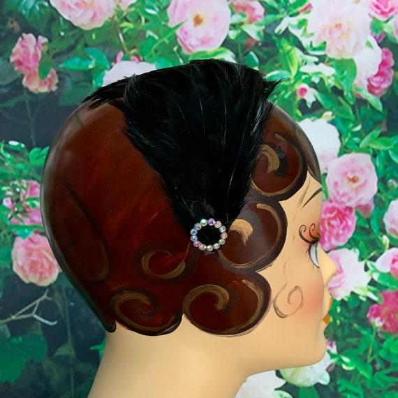 50s Black Feather Headband AB Rhinestone Fascinato