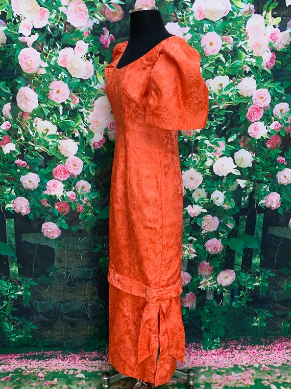 30s Pink Satin Brocade Gown Party Dress - image 7