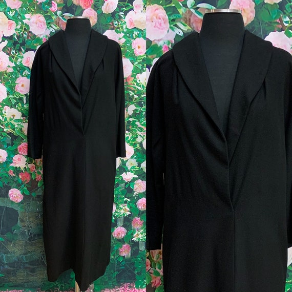 60s Kerrybrooke Black Wool Coat Dress XL