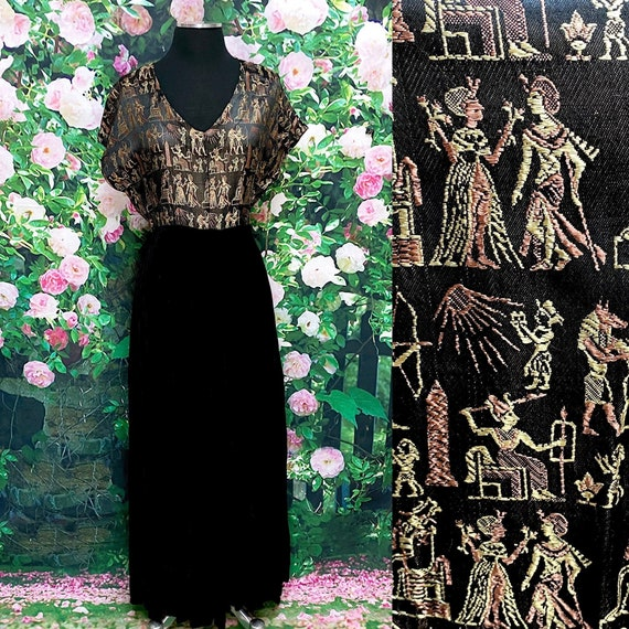 60s Egyptian Black Velvet Maxi Dress Evening Gown