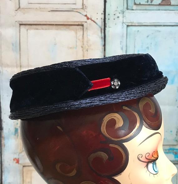50s Blue Straw Hat Velvet Ribbon Rhinestone Button - image 1
