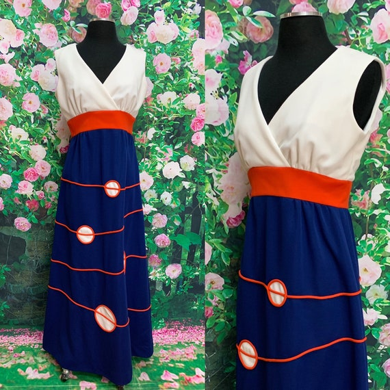 70s Red White Blue Nautical Maxi Dress Polyester K