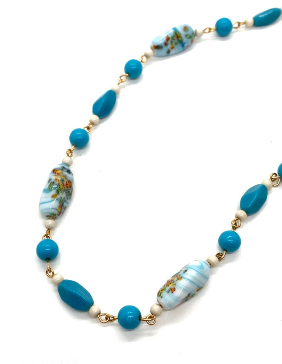 40s Blue Painted Glass Bead Necklace Flowers