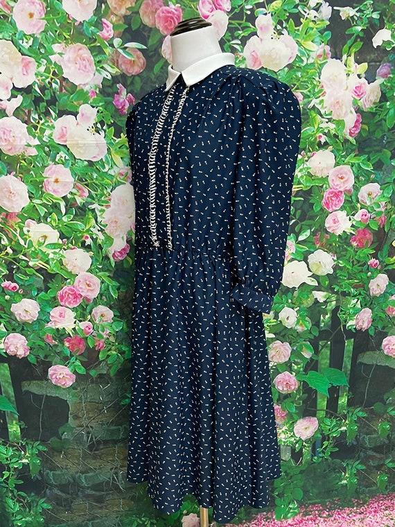 80s Navy Blue Tulip Print Secretary Dress XL - image 5