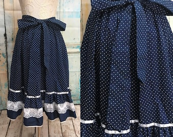 70s Blue White Polka Dot Skirt Carefree Fashions
