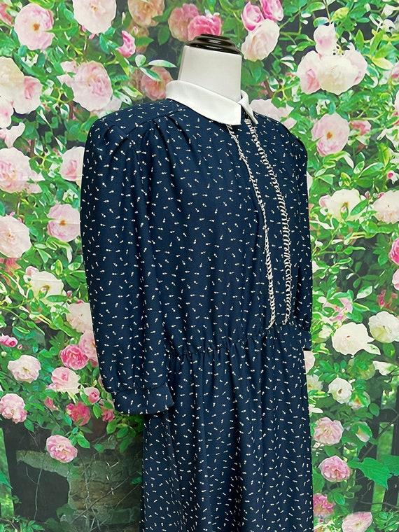 80s Navy Blue Tulip Print Secretary Dress XL - image 6