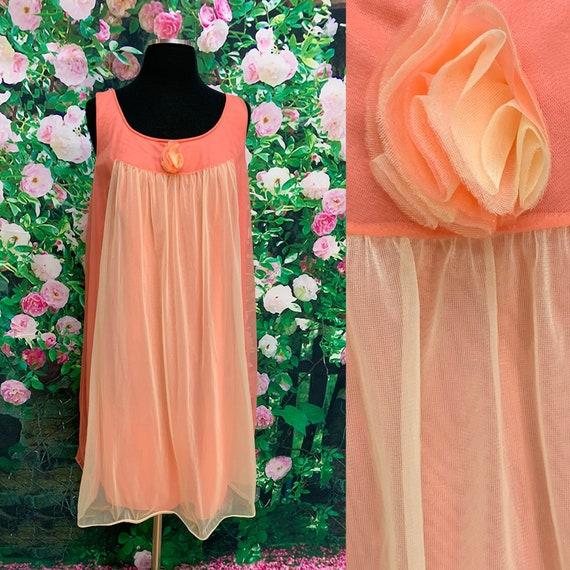 70s Vanity Fair Tangerine Chiffon Negligee Yellow… - image 1