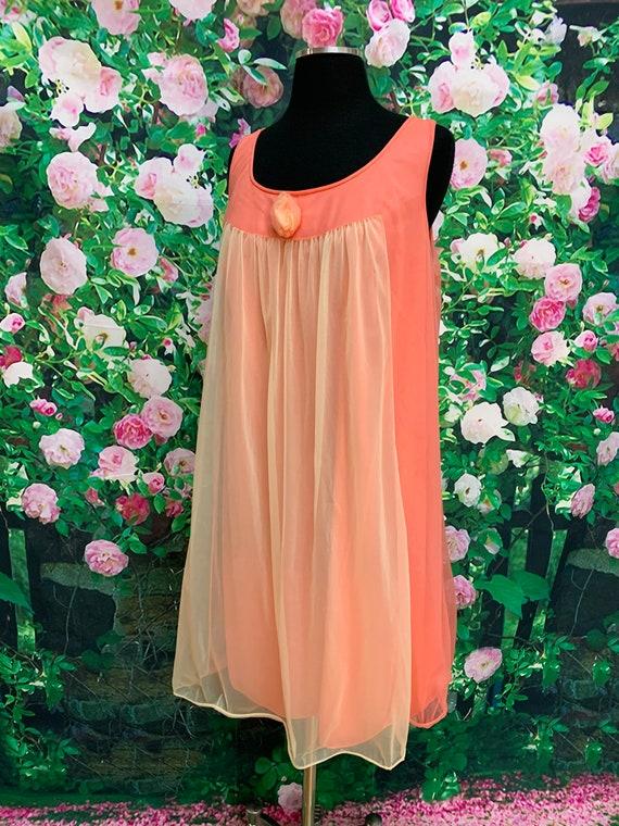 70s Vanity Fair Tangerine Chiffon Negligee Yellow… - image 6